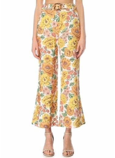 Zimmermann Zimmermann Poppy Crop Flare  Çiçekli Keten Pantolon 101598443 Renkli